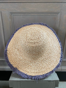 Grey Trim Raffia Sun Hat