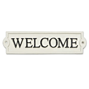 Welcome White Iron Sign