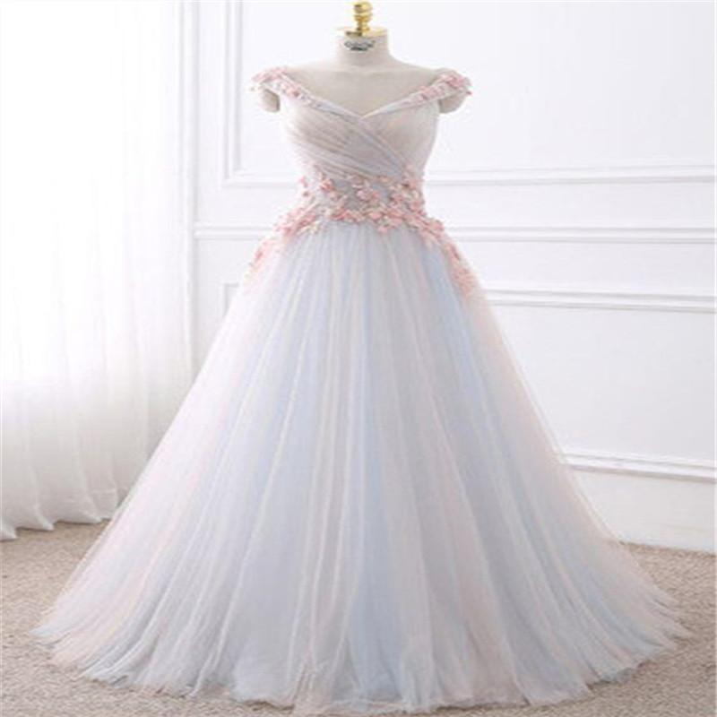 bfb4bf6c59d25 Gorgeous Top Pleated V-Neck Cap Sleeve Lace Up Long A-Line Tulle Prom