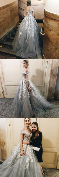 Off the Shoulder Tulle Applique Charming Cheap Long Evening Prom Dress, Prom Dresses, VB01202
