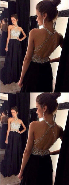 Long Halter Sleeveless Beaded Open Back Black Chiffon Prom Dresses Online, Prom Dresses, VB01197