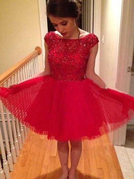 Sparkly Red Top Beading Cap Sleeve A-Line Short Tulle Homecoming Dresses, Homecoming Dresses, PD0243