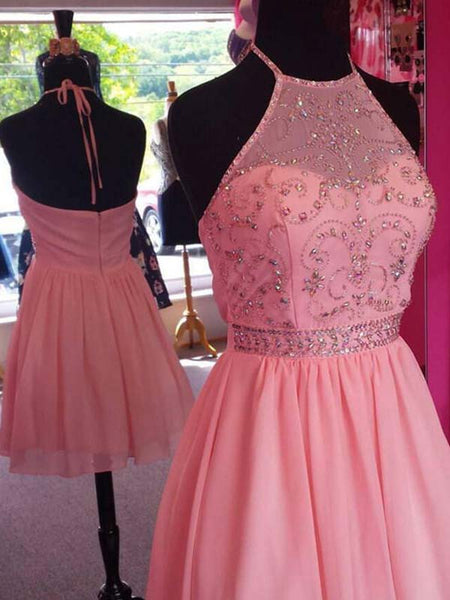 Pink Halter Top Beading Open Back A-Lin Short Chiffon Homecoming Dresses, Cheap Homecoming Dresses, PD0252