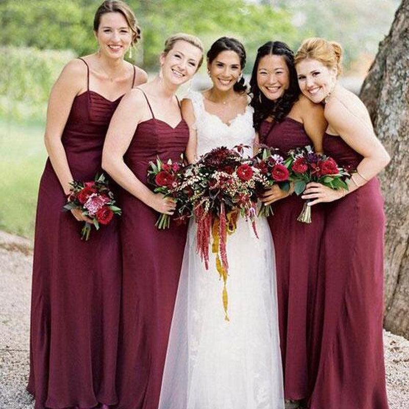 Simple Burgundy Spaghetti Straps Sheath Bridesmaid Dresses, 2019 Bridesmaid Dresses, PD0824
