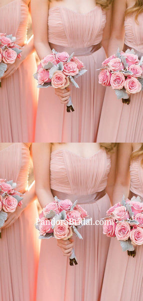 Charming Pink Sweetheart Top Pleated Long A-Line Chiffon Bridesmaid Dresses With Sash, Bridesmaid Dresses, PD0825