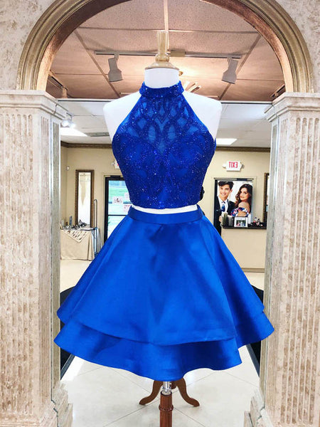 Sparkly Royal Blue Halter Two Piece Homecoming Dresses, Top Beading Open Back Homecoming Dresses, VB01169