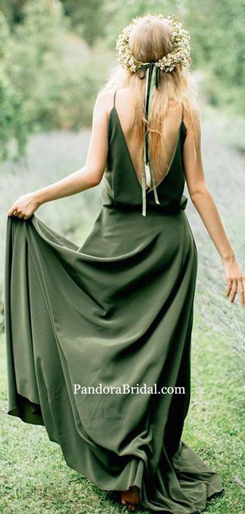 Simple Green Spaghetti Straps Long A-Line Bridesmaid Dresses With Trailing, Bridesmaid Dresses, PD0480