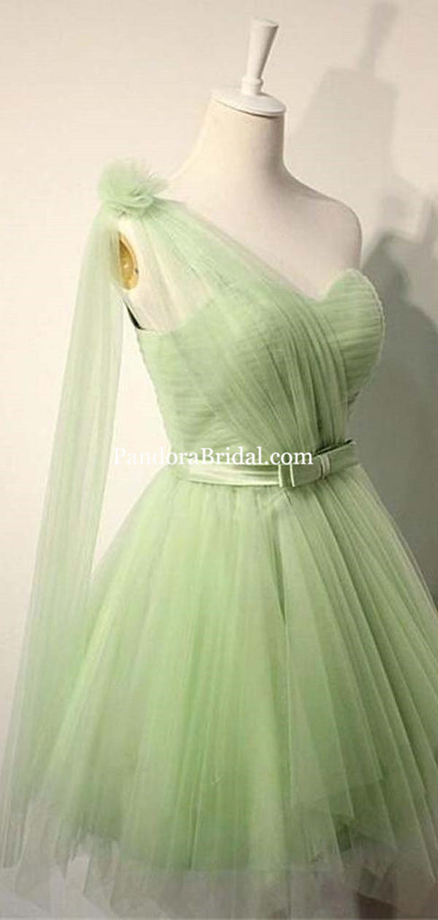 Elegant One Shoulder Baby Green Short Knee-length Bridesmaid Dresses With Bow-Knot, Bridesmaid Dresses, PD0499