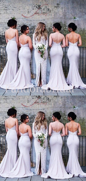 Alluring Spaghetti Straps Mermaid Long Bridesmaid Dresses, PD01715
