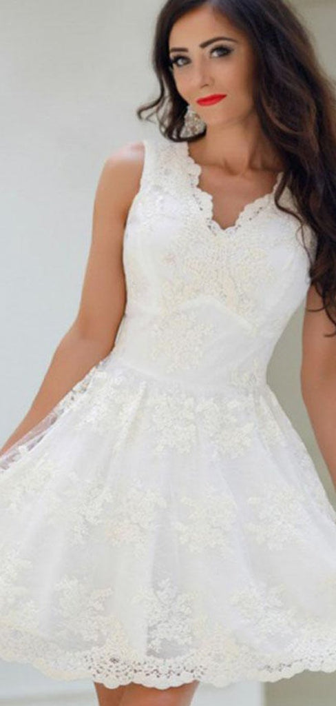 Elegant V-Neck Light Ivory Homecoming Dresses With Appliques, Homecoming Dresses, VB02449