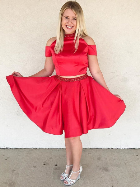 Two Pieces Halter Red Off Shoulder Cheap Homecoming Dresses 2018, CM428