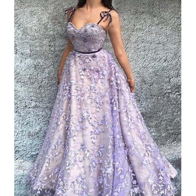 Lovely Spaghetti Straps Long A-Line Lilac Prom Dresses With Appliques, Prom Dresses, PD0335