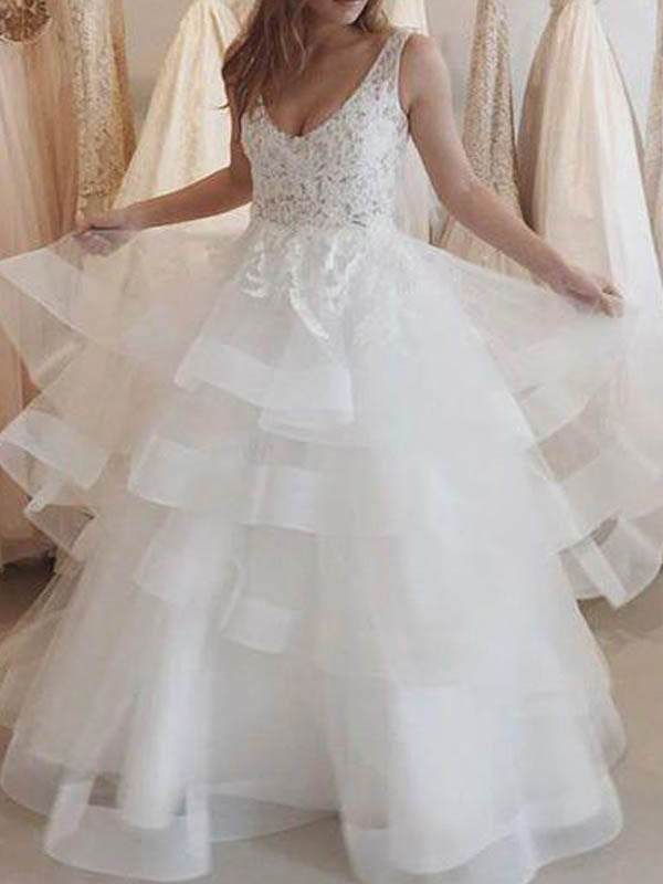 Simple A-line Deep-V Floor-Length Organza Lace Beaded Wedding Dresses, Wedding Dresses, PD0660