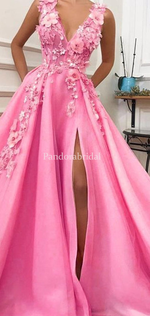 Peachy Pink V-Neck A-Line Side Slit With Appliques Prom Dresses, PD01032
