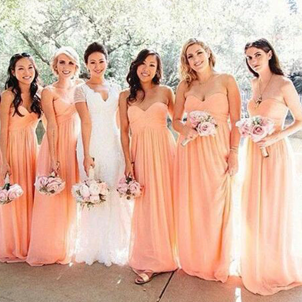 Simple Sweetheart Top Pleated Long A-Line Chiffon Bridesmaid Dresses, 2019 Bridesmaid Dresses, PD0828
