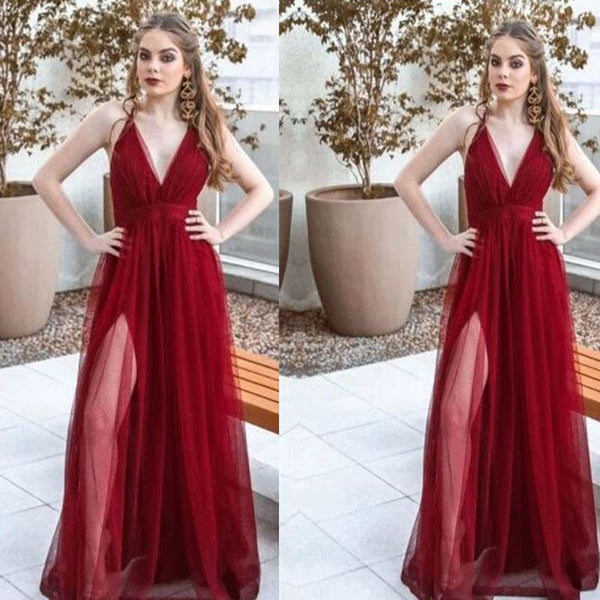 Charming Burgundy V-Neck Long A-Line Tulle Prom Dresses, Sexy Side Split Prom Dresses, PD0383