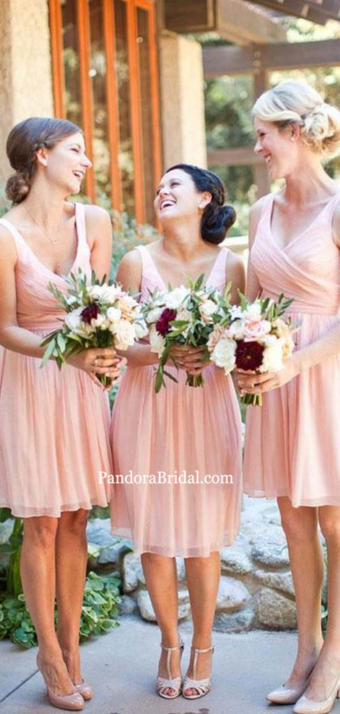 V-Neck Pink Top Pleated Short Chiffon Bridesmaid Dresses, Bridesmaid Dresses, PD0444