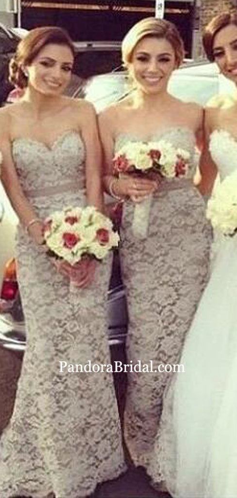 Charming Sweetheart Lace Long Mermaid Bridesmaid Dresses, 2019 Bridesmaid Dresses, PD0829