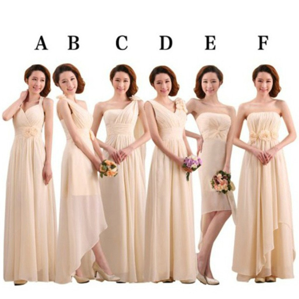 Mismatched Pretty Chiffon Long Different Styles Formal Cheap Maxi A Line Bridesmaid Dresses, PD0055
