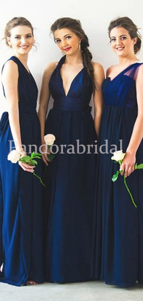 Mismatched Navy Blue Long A-Line Tulle Bridesmaid Dresses, PD01716