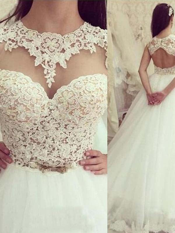 Sweet Illusion Open Back Long A-Line Tulle Wedding Dresses With Lace, Wedding Dresses, PD0789
