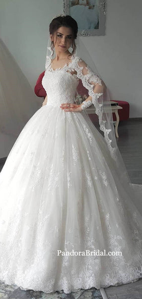 Elegant Straps Lace Long A-Line Tulle Wedding Dresses Come With Veil, Wedding Dresses, PD0695