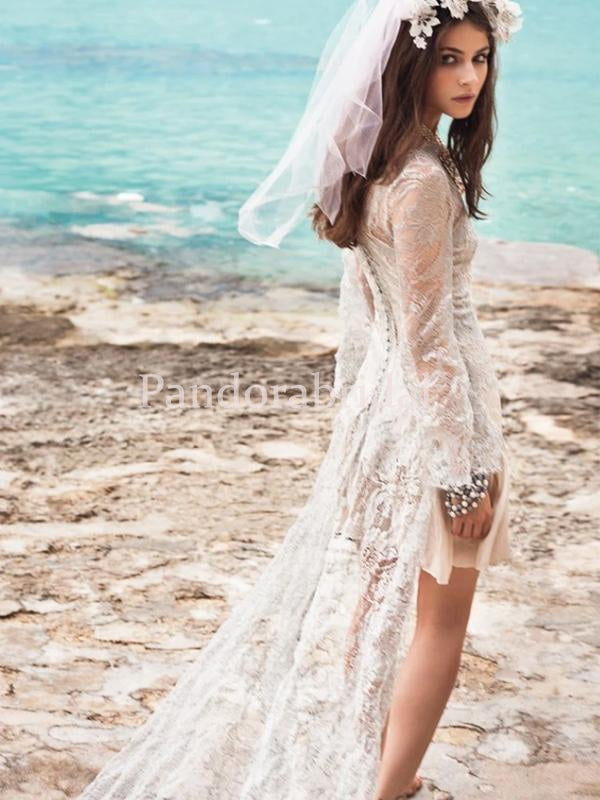 Boho Long Sleeve High Low Lace Mermaid Wedding Dresses, PD01729