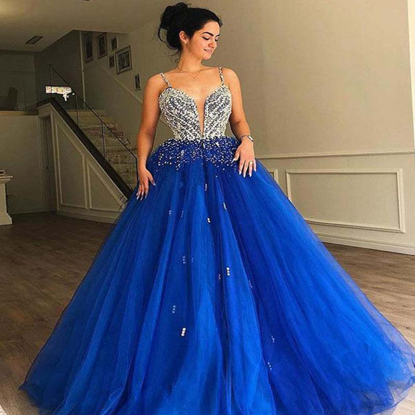 Eye-Catching Spaghetti Straps Beading Royal Blue Tulle Ball Gown 2019 Prom Dresses, Prom Dresses, PD0422