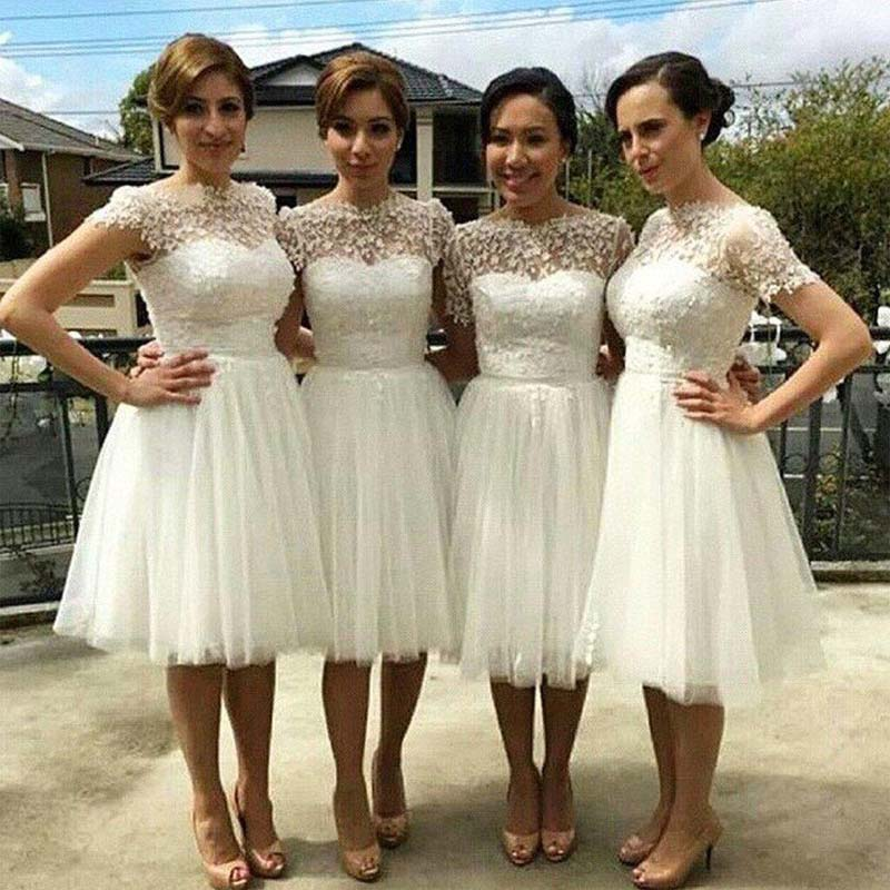 Beautiful Cap Sleeve White Tulle Short Sleeve Knee Length Wedding Party Dresses Short A Line Bridesmaid Dresses Pd0022