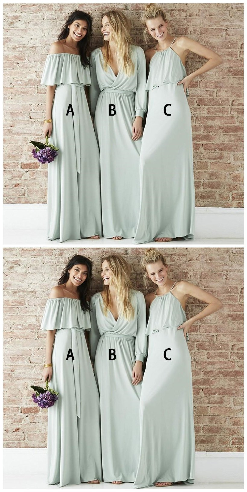 bf74b8d0a5f Mismatched Chiffon Light Green Long Bridesmaid Dresses Online