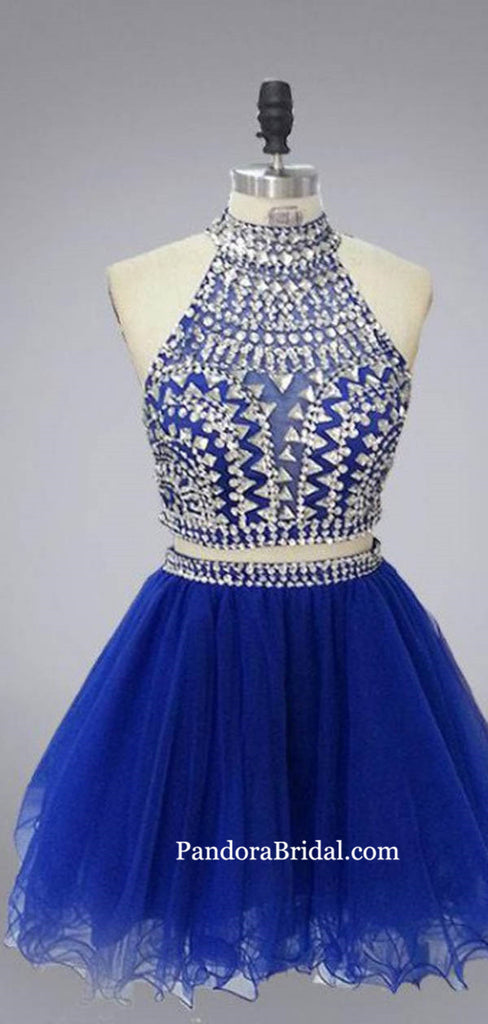 Gorgeous Royal Blue Beading Two Pieces Short A-Line Tulle Homecoming Dresses, Homecoming Dresses, PD0682