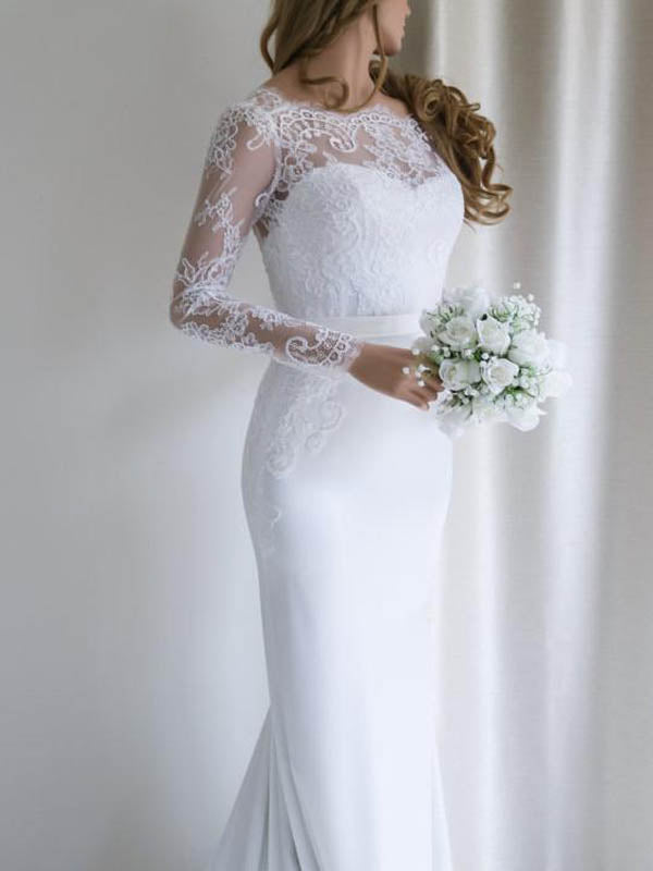 Stunning Illusion Neckline Long Sleeve Mermaid Wedding Dresses With Applique, Wedding Dresses, PD0661