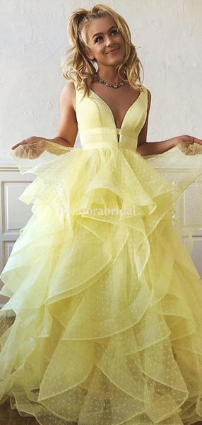 Elegant Yellow V-Neck Layered Tulle Prom Dresses, PD0974