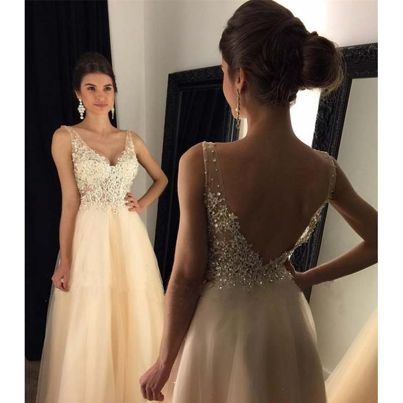 2019 Baby Yellow Rhinestone Beaded Prom Dresses, Long A-Line Tulle Prom Dresses, PD0378
