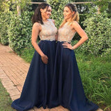 Charming Lace Top Illusion Long A-Line Navy Blue Bridesmaid Dresses, Bridesmaid Dresses, PD0408