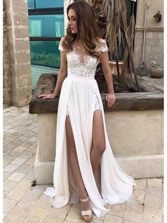 Short Sleeve Sexy Slit Casual Custom Cheap Beach Wedding Dresses