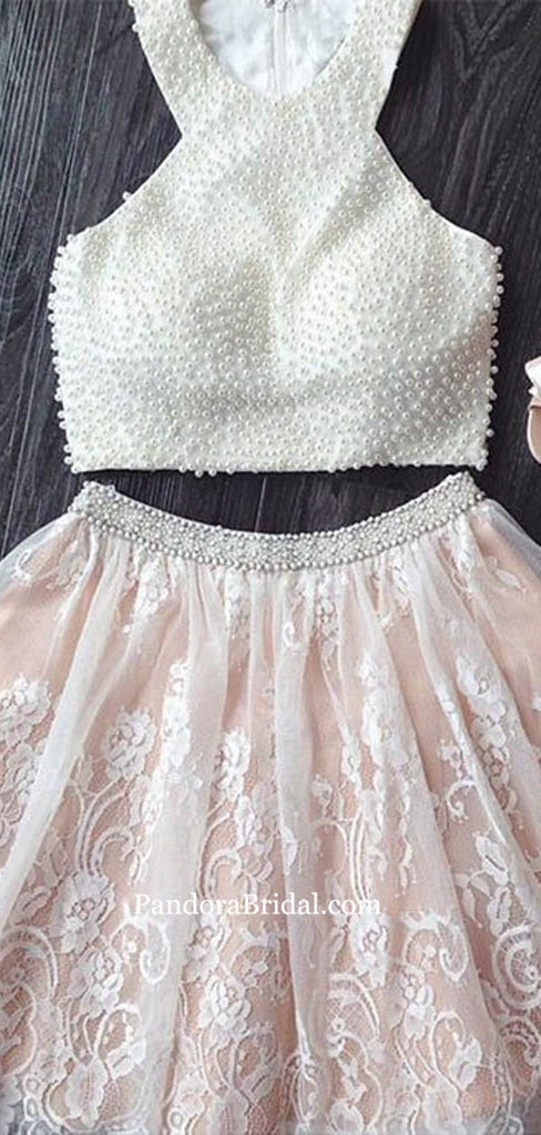 Charming Two Pieces Top Pearl Short A-Line Lace Homecoming Dresses, Homecoming Dresses, PD0687