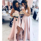Charming Blush Pink Spaghetti Straps Long A-Line Side-Slit Bridesmaid Dresses, 2019 Bridesmaid Dresses, PD0432