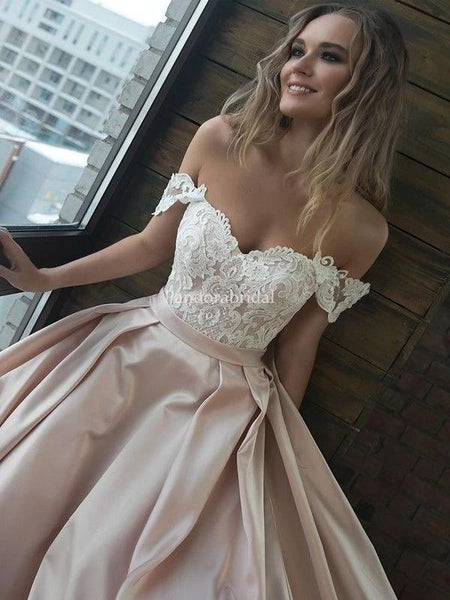 Elegant Off Shoulder Lace Top A-Line Prom Dresses With Trailing, PD01027