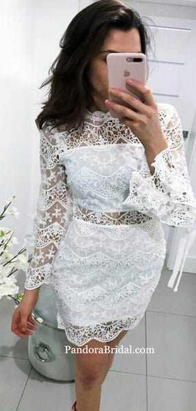 Elegant Lace Long Sleeve Mermaid Homecoming Dresses, Homecoming Dresses, PD0725