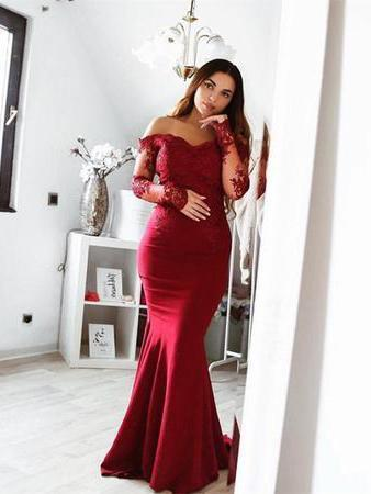 Long Sleeve Lace Mermaid Burgundy Long Bridesmaid Dresses Online, WG290