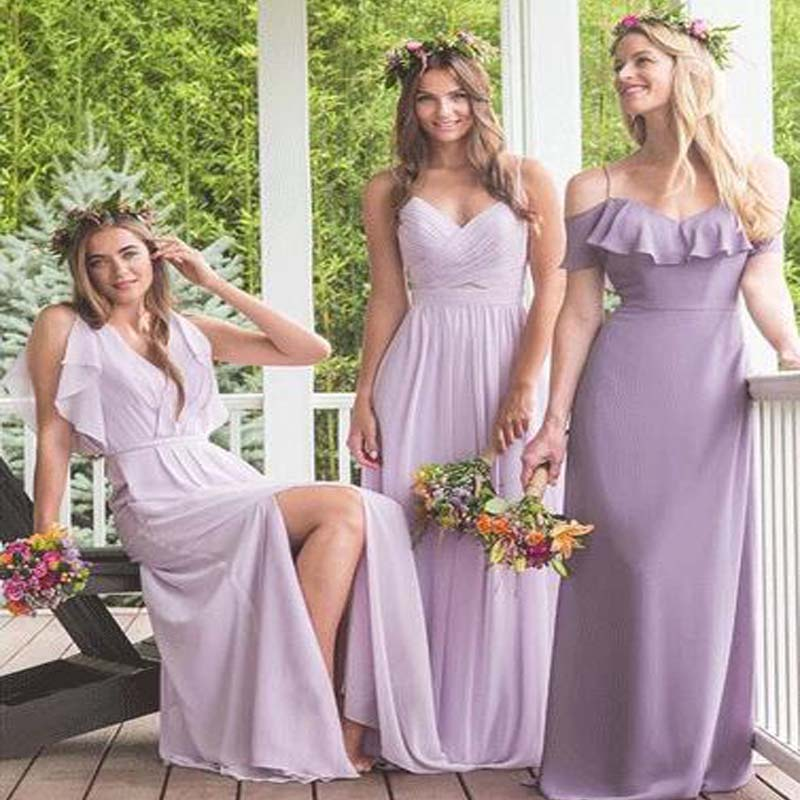 Charming Spaghetti Straps Mismatched Long A-Line Chiffon Bridesmaid Dresses, 2019 Bridesmaid Dresses, PD0398