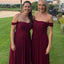 Alluring Off Shoulder Burgundy A-Line Bridesmaid Dresses, PD01773