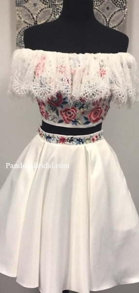 Chic Off Shoulder Two Piece With Embroidery Homecoming Dresses, Homecoming Dresses With Lace, PD0528