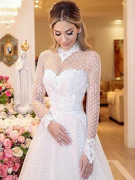 Sweet Illusion Long Sleeve Lace A-Line Wedding Dresses, PD01730