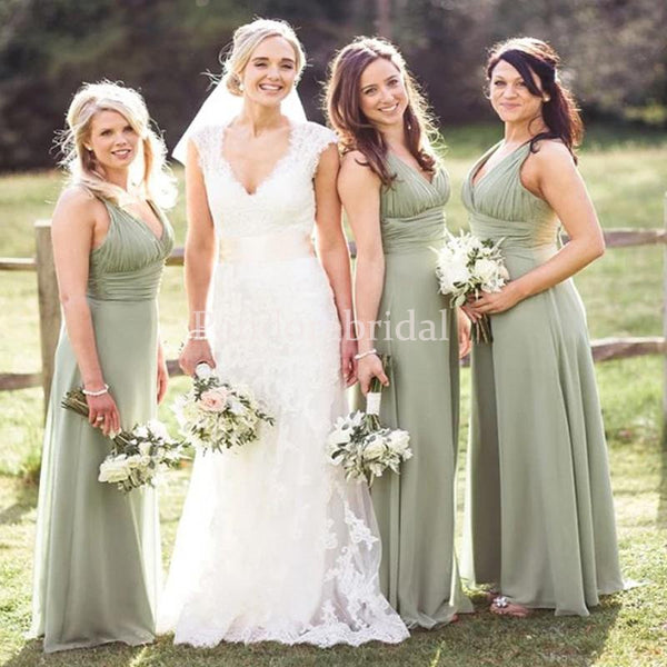 Simple Light Green Pleated V-Neck A-Line Chiffon Bridesmaid Dresses, PD01703