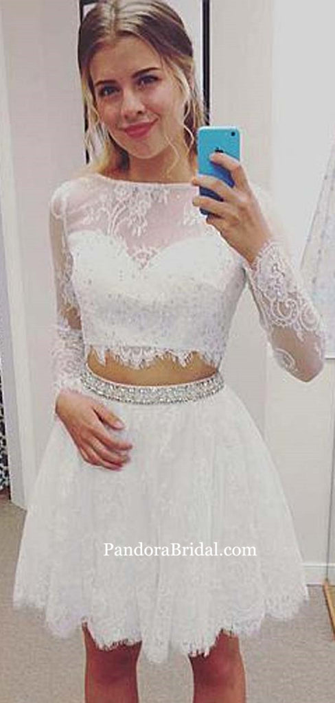Elegant Illusion Long Sleeve Two Piece A-Line Lace Homecoming Dresses With Beaded Band, Homecoming Dresses, PD0601