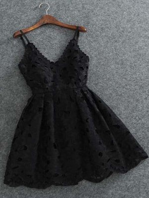 Simple Black Spaghetti Straps Lace Short Homecoming Dresses Cheap