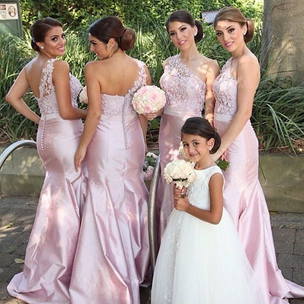 One Shoulder Mermaid Sexy Elegant Pink Long Affordable Bridesmaid Dresses with Handmade Flowers, PD0068