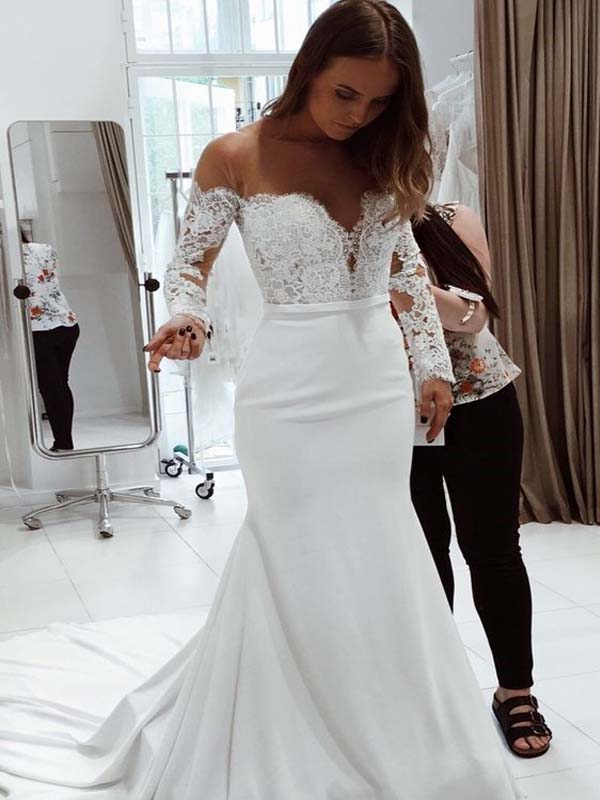 0c963a3a0f83 Gorgeous Off Shoulder Long Sleeve Lace Top Long Mermaid Wedding Dresses  With Trailing, Wedding Dresses